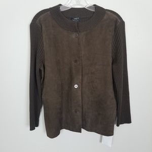 Talbots Suede Leather  Botton Down Sweater Top M